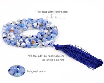 6mm Frosty Faceted Blue Agate Knotted 108 Rosary Beaded Tibetan Buddhist Prayer Beads Japa Mala  ZZ282