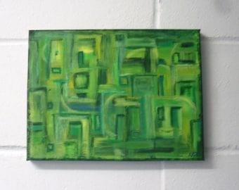 Abstract green painting acrylic/Mixed Media original modern art on Canvas
