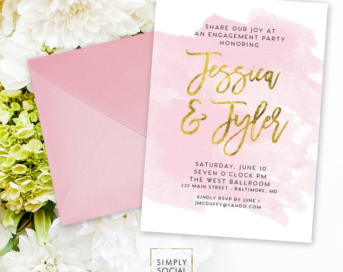 Engagement Party Invitation - Faux Gold Foil Blush Pink Watercolor Classy Modern Calligraphy Typography We're Engaged Printable