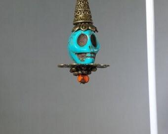 Skulls A Plenty Dia de los Muertos Tibetan Buddhism Skull Earrings With Variations on Bronze Hooks Medium Length Medium Skulls Steampunk
