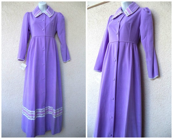 1970s Velour Robe Lounge Gown Housecoat Hostess Gown