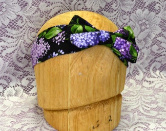 Lilac Print Black and Purple Sweet and Sassy Adult Sized Bow Headband