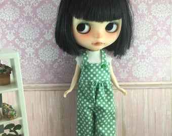 Blythe Overalls - Green and White Spots