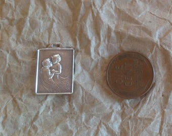 Sterling silver small siblings bracelet pendant charm brother sister vintage