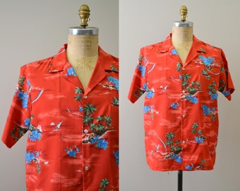 1980s Red Hawaiian Shirt