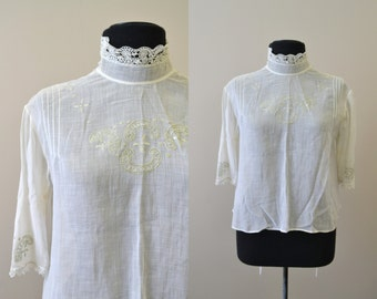 1910s Edwardian Embroidered Blouse