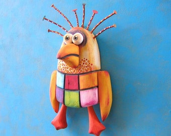 Checkered Chicken, Original Found Object Wall Sculpture, Wood Carving, Wall Decor, Chicken Art, by Fig Jam Studio