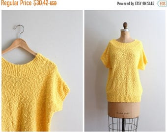 SPRING SALE vintage 80s slouch sweater - short sleeve summer sweater / Sunshine Yellow - bright yellow sweater / 80s sweater - Kawaii sweate