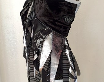 Upcycled wrap fringe skirt dance Burning Man Festival Fairy black silver cirque coverup Faerie Tutu Pixie Renaissance Costume convertible