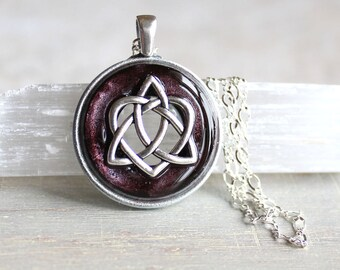 As seen at the 2016 GBK Golden Globes Gift Lounge, wine celtic sister knot necklace, unique gift, irish jewelry, celtic knot, celtic jewelry