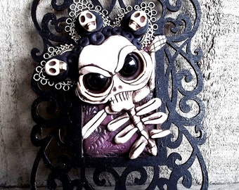 Queen of the Damned Percy Skellington framed polymer clay sculpture,Mini Frame, wall hanging, original art,OOAK, Covington Creations