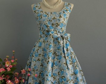 Christmas SALE My Lady - Blue Roses Floral Dress Spring Summer Sundress Blue Floral Party Dress Floral Bridesmaid Dress Blue Floral Tea Dres