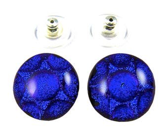"""Dichroic Earrings Cobalt Sapphire Blue - Bubbles Textured Round Post or Clip-Ons - 1/2"""" 12mm"""