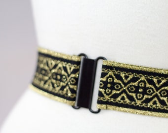 Gold and black elastic cinch belt, metallic gold waist belt for dresses, regular and plus size belts available