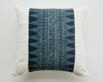 Indigo Batik and Mudcloth Pillow Cover - Bohemian Luxe Pillow - Boho Throw