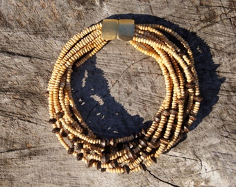 Jay Feinberg Wood Bead Multistrand 80's Necklace