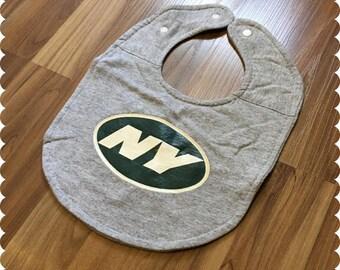 New York Jets Baby Bib, Recycled T-Shirt Baby Bib, Sports Baby Boy Gift, Football Baby, NY Jets