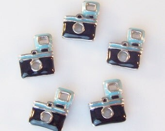 Blue and Black Camera Charms for Memory Living Lockets - Floating Charms Ships from USA