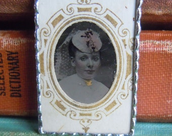 Fiona & The Fig - Victorian Tintype Photo - Civil War Era Tintype Photo-Beautiful Young Lady- Soldered Charm - Necklace - Pendant-Jewelry