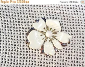 ON SALE Sarah Coventry White Enamel  Flower Brooch