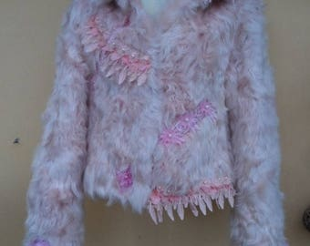 """20%OFF vintage bohemian gypsy romantic rock ivory fur jacket....small to firm 36"""" bust"""
