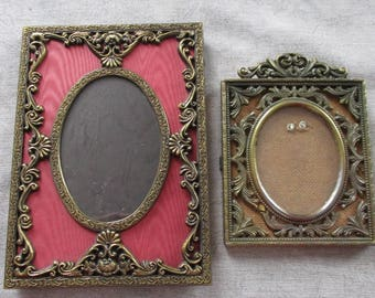 2 Ornate VINTAGE Shabby Metal Oval Frames with Glass  Made in Italy