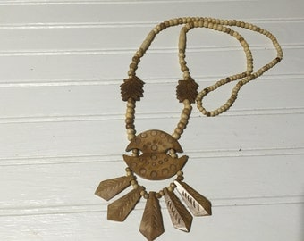 Vintage Wooden Necklace Boho Chic Bohemian Style