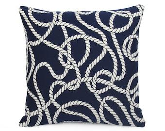 Sunbrella Maritime Nautical Indoor/Outdoor Pillow cover, Navy Blue Cushion Sham, Boat Rope Beach Patio Cushion Cover, Yacht Pillow, Designer