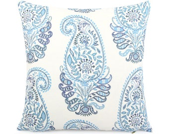 Blue and White Floral Paisley Pillow Cover, 18x18 Square and Lumbar, Blue Boho Cushion Cover, Blue Flower, Blue White Decor, Jada Wedgewood