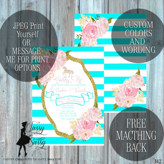 Carousel Horse Birthday Party Invitation, Pony Party, Aqua Glitter Party Invitation, DIY Print Party Invitation, Tween Birthday invite 142