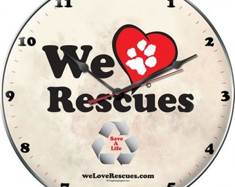 Vintage metal clock, We Love Rescues wall clock, rescues, dogs cats, animals,