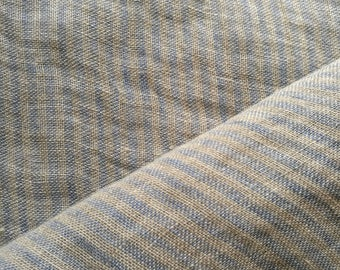 Pure soft linen fabric with  regular stripes#gray and BLUE color#light fabric#transparent