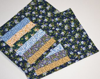 Quilted Mug Rug, set of two, Mini Placemat, Cotton Coaster, Little house on the prairie fabric