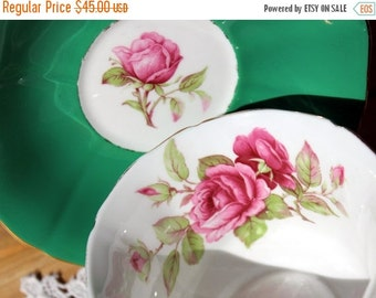 Floral Teacup, Cup and Saucer, English Bone China, Hunter Green, Royal Adderley, Tea Cup, 12939