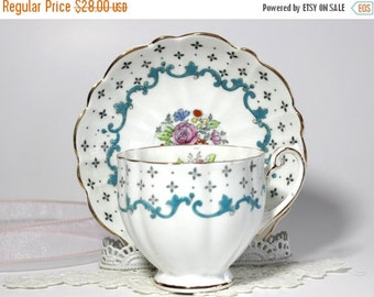 Vintage Teacup, Cup and Saucer, Floral Tea Cup, Hand Painted, Victoria Teacups 13110