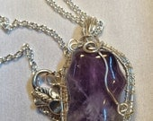 Handcrafted Wire Wrapped Amethyst  Gemstone Pendant, Gift for Her, Reiki, Chakra,Yoga Jewelery,Purple Gemstone, Christmas, Boho Chic,Kwanzaa