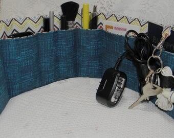 Flat Bag Organizer Insert, 7 Pockets, Velcro Closure Plus Earbud/Cable Organizer, Gift for Him, Briefcase Insert, Travel Bag Organizer
