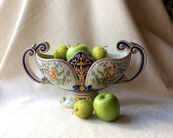 Antique French Faience Tulipierre Vase - Handpianted French Folk Art - Antique Pottery and Ceramics