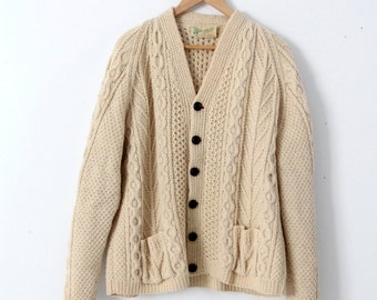 vintage Irish wool sweater, Aran knit cardigan, fisherman sweater