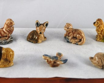 7 Red Rose Tea Figurines Animals Wade Figurines Whimsy 1967 collectables Wade England Bird Fawn Dog Seal Rabbit Buffalo Otter Sweet Forest