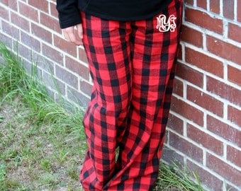 Red Plaid Pajamas Etsy