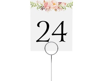 Wedding Table Numbers - Reception Signs, Dinner Table Card, Party Decor, Bridal Shower, Pink - Boho Blooms, 3.5 x 4.75 Inches, Printed Signs