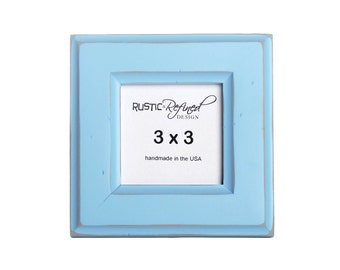 3x3 Moab picture frame - Baby Blue - Instagram, Home Decor, Wedding Favors, Wall Decor, Solid Wood, Handmade