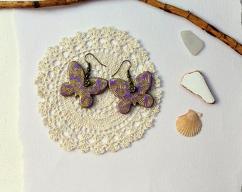 Earrings Handmodelling butterflies lilac gold