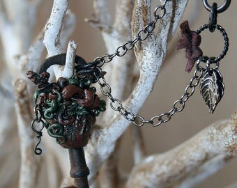 Heart of the Forest Necklace - Sculpted Anatomical Heart - Assemblage Necklace - Heart Chakra - Leaves - Tree - Sacred Woods Necklace