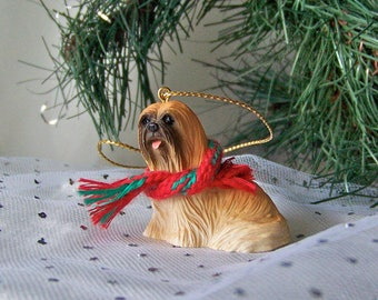 Vintage Pekingese Ornament Porcelain Pekingese With Christmas Scarf Holiday Decor Dog Ornament ca. 1994