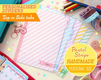 HANDMADE A5 (Top or Side Tabs) Personalised Dividers Pastel Stripes Cute Kawaii, Filofax A5, Louis Vuitton GM Agenda, Kikki.K Large Planner