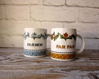 Vintage Scandinavian Cups Grandmother Grandfather Set of 2