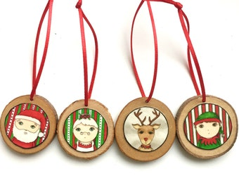 Christmas Ornaments Santa, Rudolph, Mrs. Claus, Elf