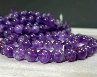 A Grade 10 mm Natural Amethyst Smooth Round Beads 15.5 inch Strand - February Birthstone (MJ0888NW54)